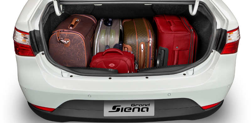 Foto mostra o porta-malas do Fiat Grand Siena Attractive 1.0 2017