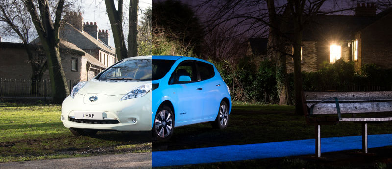 Nissan-Leaf-glow-dark-night