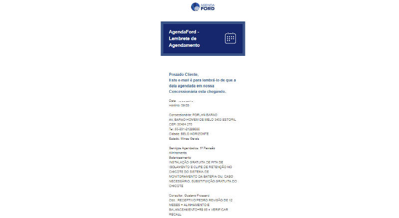 E-mail do agendamento de revisão da Ford