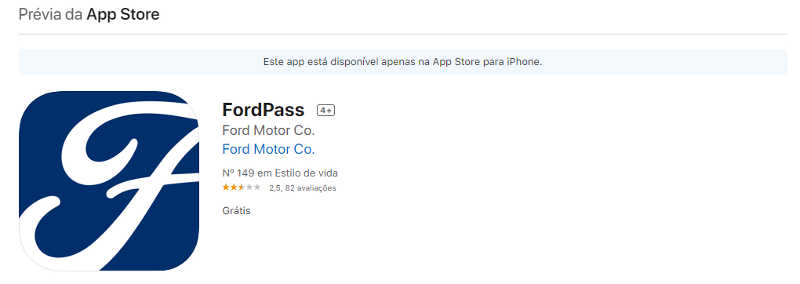 Nota do FordPass na App Store do iPhone (Apple)