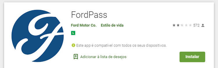 Nota do FordPass na Play Store do Android
